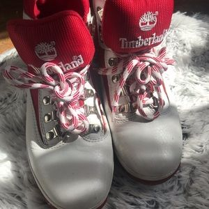 White & Red Timberlands